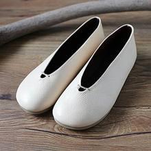 Bonitos zapatos planos de otoño cómodos para mujer, zapatos hechos a mano con personalidad para mujer, zapatos blancos Vintage suaves de cuero genuino, zapatos planos para mujer