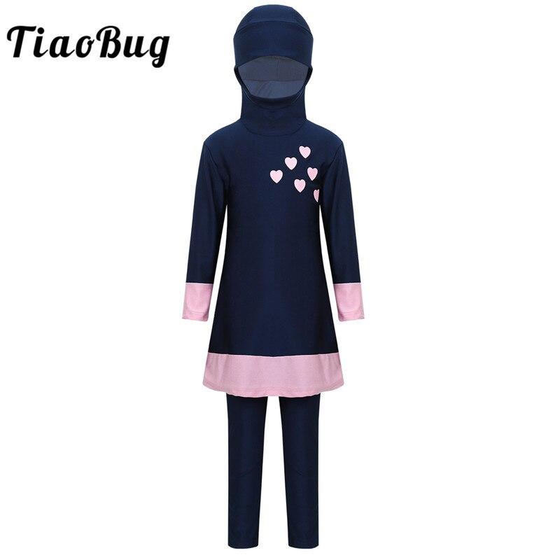 TiaoBug Kids Teens Long Sleeves Sweetheart Printed Full Cover Conservative Hijab Burkini Swimwear Girls Swimsuit with Pants Set