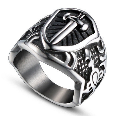 1PC Cross Sword Shield Ring Mens Silver Lion Sword King Noble Knight Stainless Steel Ring Size 8-10