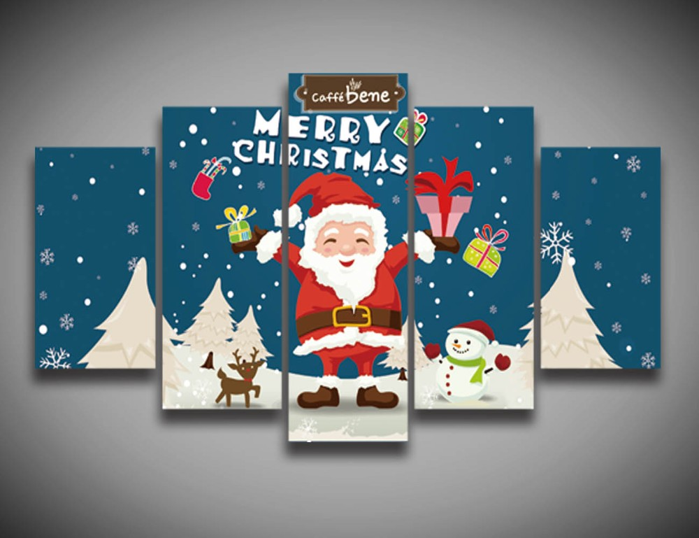 Cuadros Oil Painting High Quality Cartoon Christmas Gift Santa Claus Painting On Canvas 5 Panels Wall Decor Art Print Posters