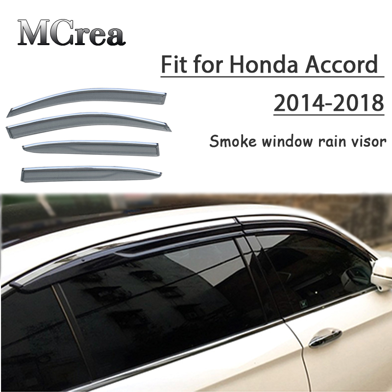 MCrea 4pcs ABS Car Smoke Window Sun Rain Visor Deflector Guard For Honda  Accord 2014 2 015 2016 2017 2018 Accessories-in Awnings   Shelters from  Automobiles ... e85b81f5329