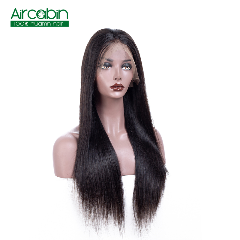 Full Lace Human Hair Wigs Straight Hair Full Lace Wigs Pre-Plucked With Baby Hair Brazilian Remy Hair Wigs AirCabin