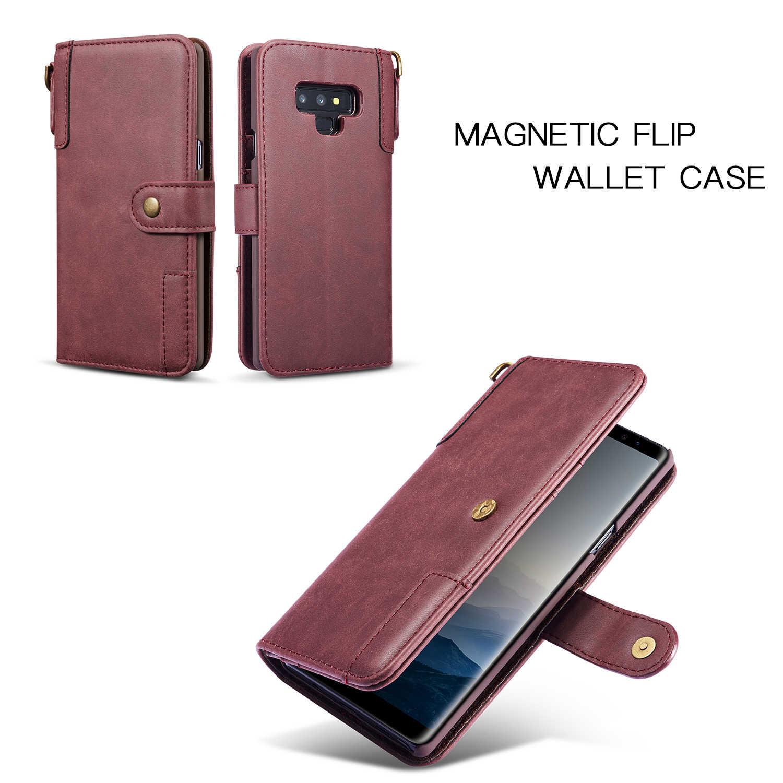 Bò Chia Bao da có Dây dành cho Samsung Galaxy Samsung Galaxy NOTE9 NOTE8 S9 S8 Plus S7 S6 Edge Ví Flip đứng Retro Bao