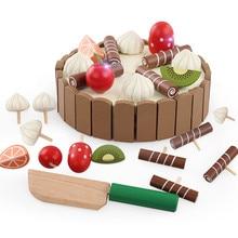 Горячие деревянные детские кухонные игрушки, ролевые игры, резка торта, еда для детей, развивающие игрушки для детей, игрушки для приготовления фруктов, игрушки для дня рождения