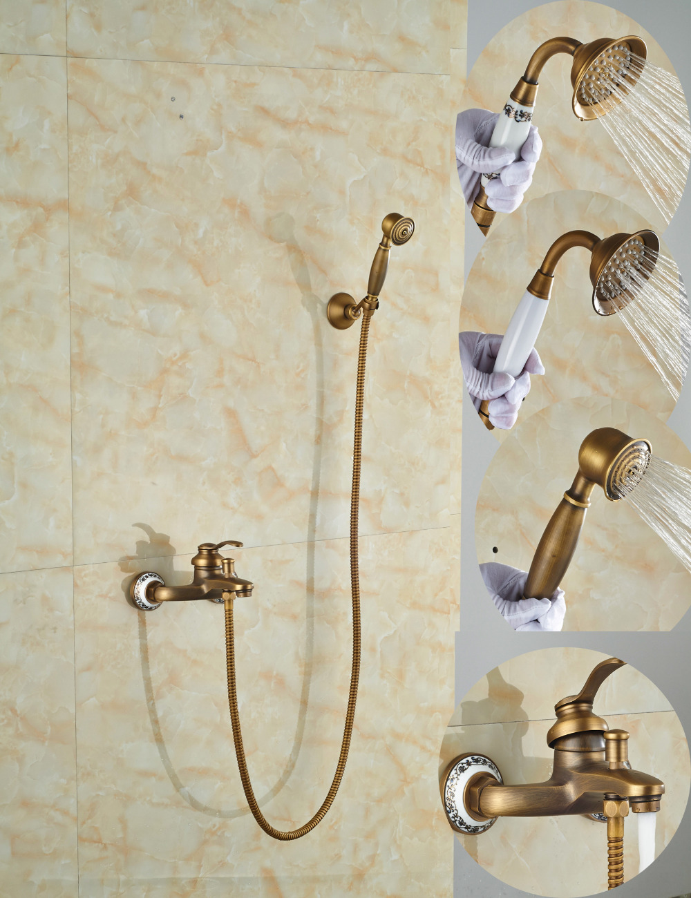 Wholesale And Retail Promotion Luxury Antique Brass Bathroom Tub Faucet Wall Mounted W/ Hand Shower Sprayer Single Handle
