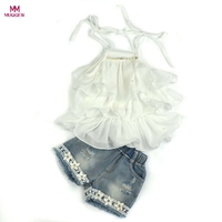 Fashion Trendy Kids Baby Girls Chiffon Pearl Vest Shirt Summer Crop Top Jean Shorts Outfits Children