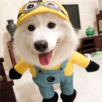 2016 Fashion Pet Cat Dog Minions Costume Soft Dogs Clothes Cute Cartoon Hoodie Coat Four Leg