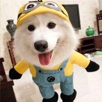 2016 Fashion Pet Cat Dog Minions Costume Soft Dogs Clothes Cute Cartoon Hoodie Coat Four Leg