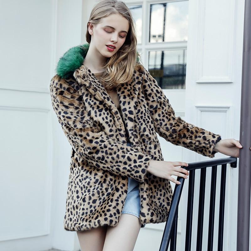c235a0976b 2018 Winter Women Fashion Leopard Print Faux Fur Coat Luxurious Slim Warm  Long Mink Fur Jacket Plus Size ...