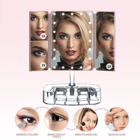 Tri fold desktop LED makeup mirror Touch dimming on both sides / 2 times 3 times Princess mirror table lamp