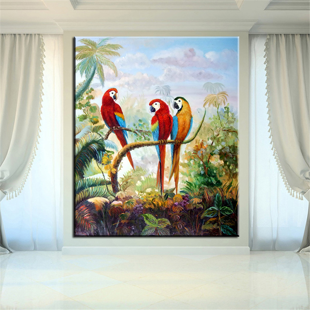 Dp Artisan No Frame Red Yellow Parrots Animal Arts Printed Oil