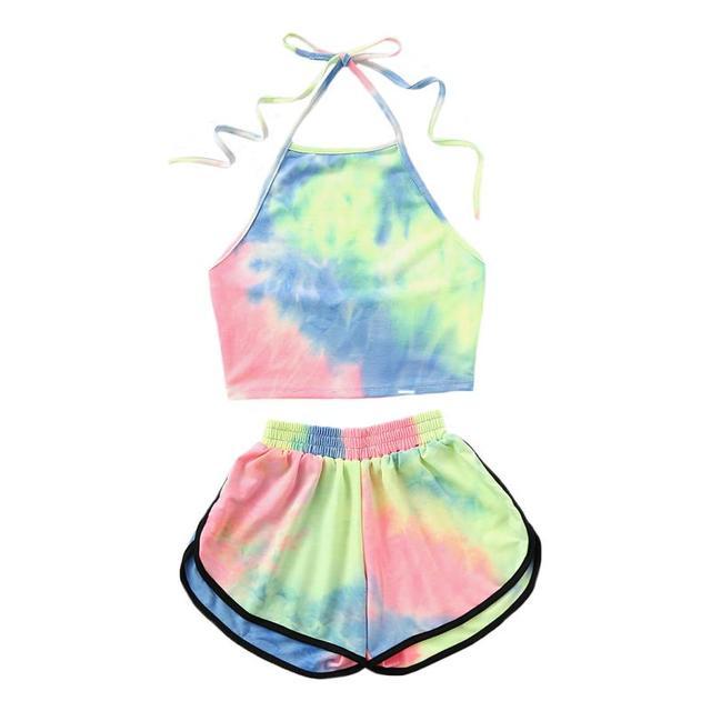 Mùa Hè mới Phụ Nữ Mặc Bikini 2 Pcs Set Halter Nở Color Crop Top Với Quần Short cô gái ngọt ngào phụ nữ Kỳ Nghỉ Bãi Biển Mặc phù hợp với