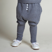 2016 New Baby Boys Girls Cotton Harem Knitted Pants Baby Kids Toddlers Pants Gray Color Fleece