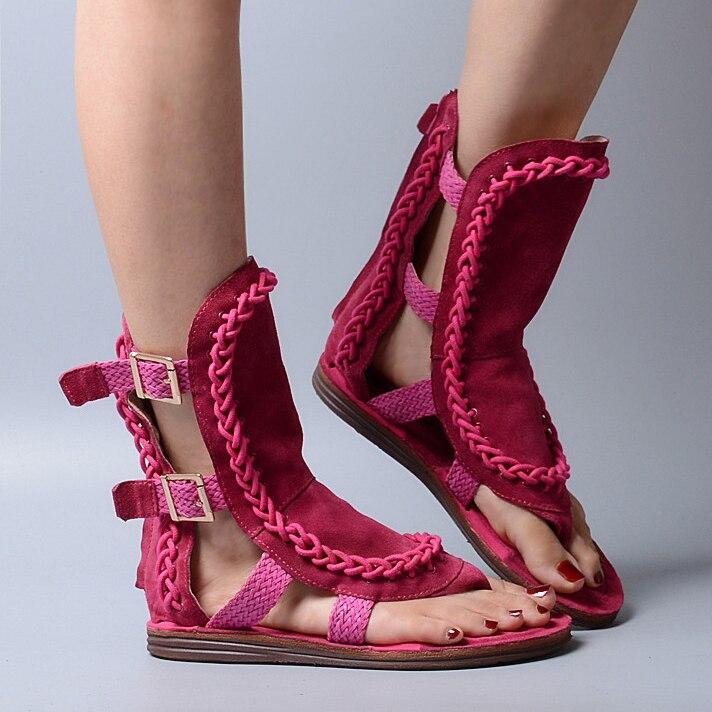 Ayakk.'ten Kadın Sandaletleri'de Prova Perfetto Süet Toka Askı Kadın Sandalet Yaz rahat ayakkabılar Kadın Flip Flop Oymak Örgü Düz Sandalias Mujer'da  Grup 3