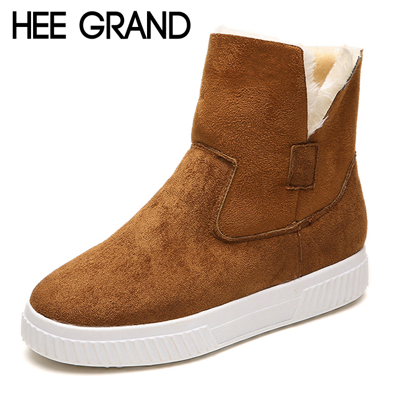 HEE GRAND Solid Faux Suede Warm Women Snow Boots Creepers Platform Casual Shoes Woman Turned-Over Women Ankle Boots XWX6943 hee grand inner increased winter ankle boots warm fringe fashion platform women snow boots shoes woman creepers 3 colors xwx6180