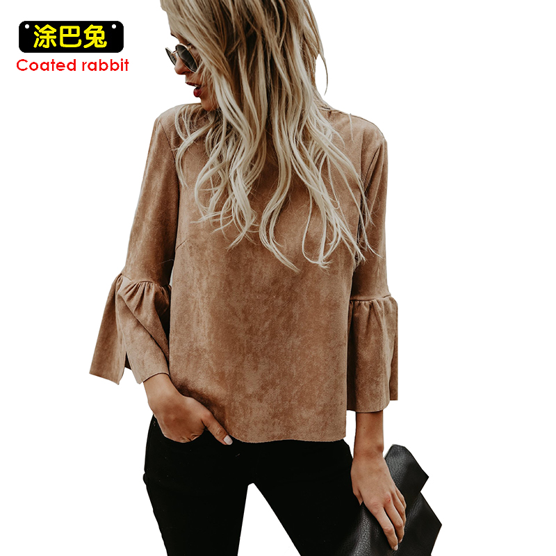 CR Women Blouses Top Women Shirt Fashion Tops Casual Flare Sleeve Long Sleeve O-Neck Solid Color Shirts