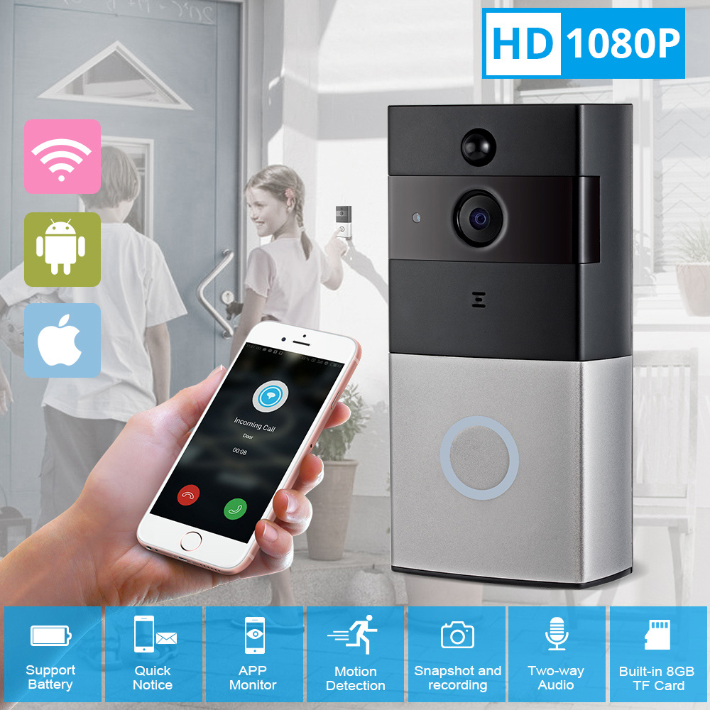 FUERS 1080P HD Wireless WiFi Two-way Door Bell Home PIR Motion Detector Night Vision Message Push Remote Intercom Video Doorbell