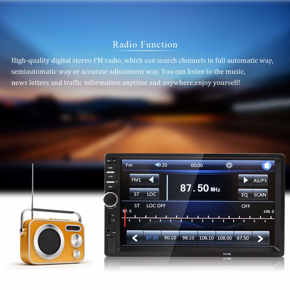 7 Inch 2 <font><b>DIN</b></font> <font><b>Car</b></font> In-Dash Touch Screen <font><b>LCD</b></font> Display Bluetooth Auto <font><b>Car</b></font> <font><b>Stereo</b></font> MP5 Radio Player+ Wireless Remote Control image