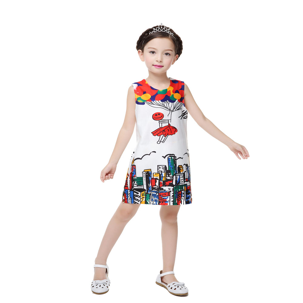 City Graffiti Summer Girls Children Dress Custom For Big Girls 6-12T Vestidos Infantil Party Dress Princess Kids Girls Clothes