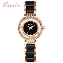 KIMIO Для женщин часы модные С кристалалми и стразами прокатки горный хрусталь Для женщин Часы Золотой браслет кварцевые Элитный бренд дамы-часы