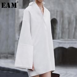 [EAM] 2019 новое осенне-зимнее свободное платье с отложным воротником и длинным рукавом большого размера, модная женская блузка JX816