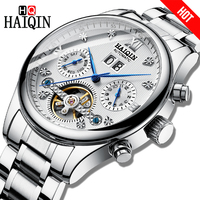 HAIQIN Chronograph Automatic mechanical Men Watches Bussiness Watch for men Full steel Military Waterproof Wind Tourbillon Clock