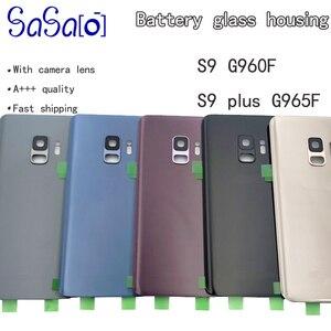 Image 1 - 10 adet samsung için yedek Galaxy S9 G960F S9 + Artı Arka Pil Kapağı Cam Konut + Kamera Çerçeve Lens + IMEI baskı + Sticker