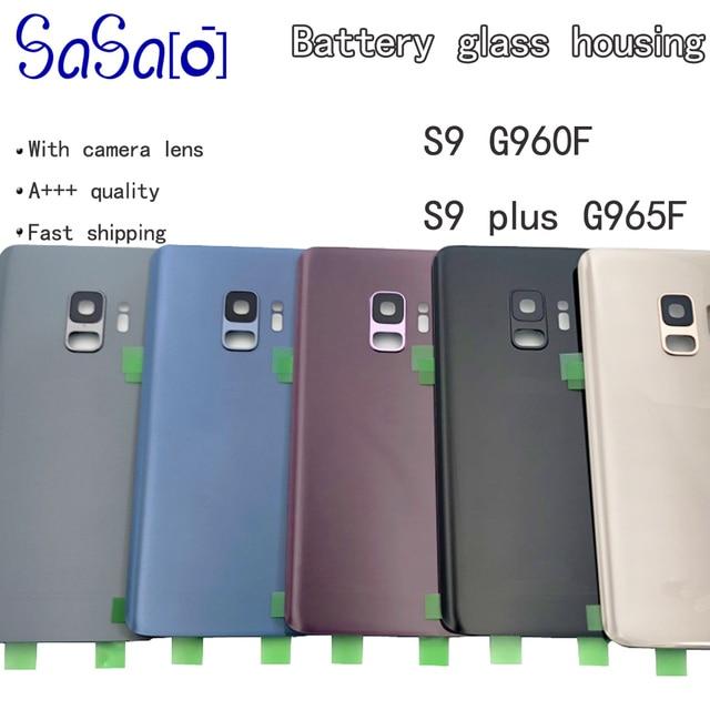 10 adet samsung için yedek Galaxy S9 G960F S9 + Artı Arka Pil Kapağı Cam Konut + Kamera Çerçeve Lens + IMEI baskı + Sticker