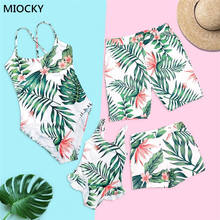 Family Matching Swimwear 2019 Leaf Print Mommy and me swimsuit swimming trunks for kids men Swimsuit Look E063