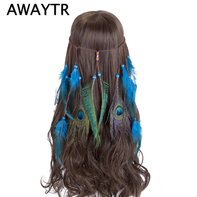 Feather Head Band AWAYTR Feather Headband Hippie Bohemian Women Blue Feathers Hippy Female Hair Accessories