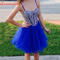 2016 Homecoming Dresses Royal Blue with Spaghetti Strap Tulle with Sparking Beads Short Graduation Prom Dress for the 8th Grade