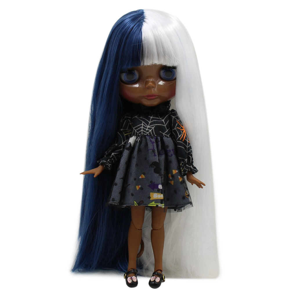 factory blyth doll super black skin tone darkest ultra skin blue and white hair joint body