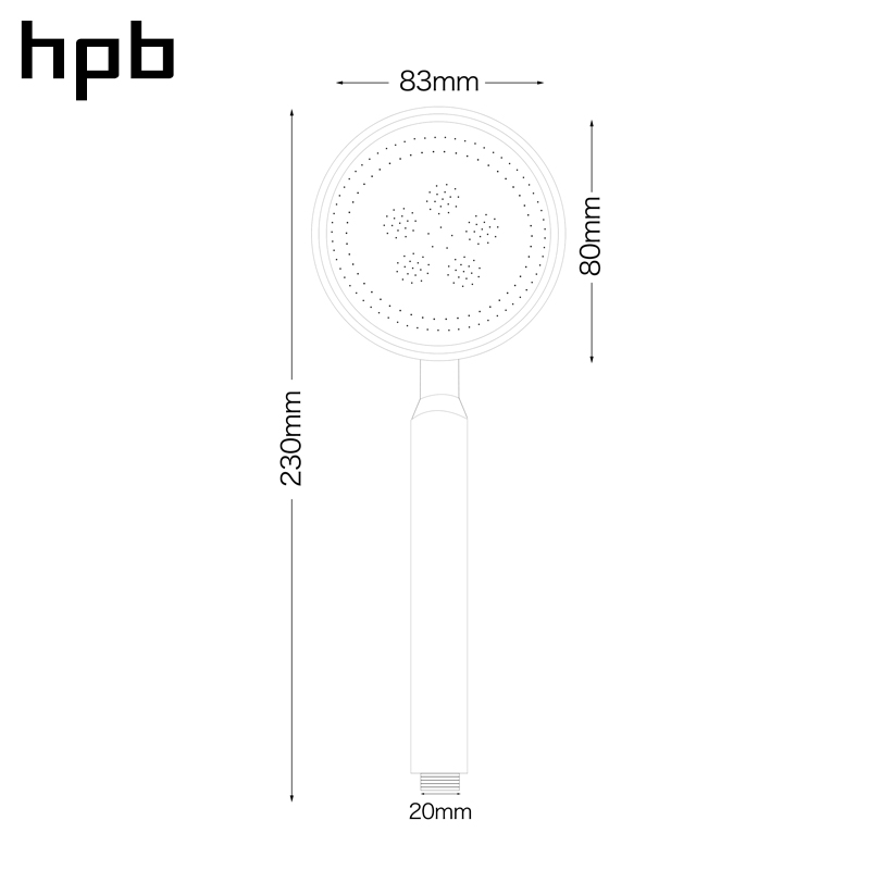 HPB Space Aluminum Round High Pressure HandHeld Shower Head Water Saving Bath Hand Shower Bathroom Accessories HP7118 in Shower Heads from Home Improvement