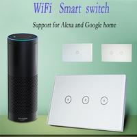 Work With Amazon Alexa Xenon Wall Switch Smart Wi Fi Switch Glass Panel Smart Mobile Control