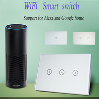 Work With Amazon Alexa Xenon Wall Switch Smart Wi Fi Switch Glass Panel Smart Mobile Control