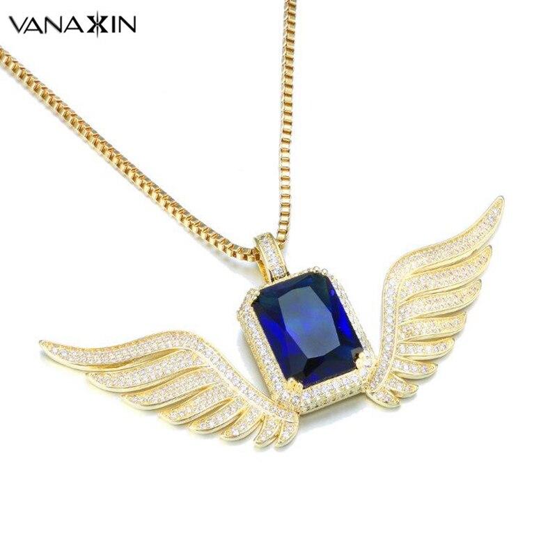 VANAXIN hommes ange ailes collier pendentif Style Punk CZ bleu cristal pavé cubique zircone Hip Hop hommes bijoux boîte cadeau colliers