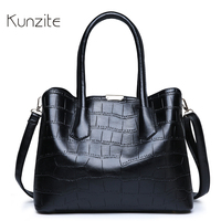 KUNZITE Women's Alligator Leather Handbags Designer Daily Casual Tote Sling Bag For Ladies And Girls Fashion Messenger Bag Bolsa