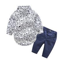 Nowe zestawy ubrań dla chłopców noworodek przystojny odzież dla niemowląt odzież dla niemowląt zestawy ubrań dla dzieci bawełniane pajacyki z długim rękawem + spodnie tanie tanio Skręcić w dół kołnierz Pojedyncze piersi REGULAR cotton Unisex NTYSX kids Denim Pełna Płaszcz Drukuj Pasuje prawda na wymiar weź swój normalny rozmiar