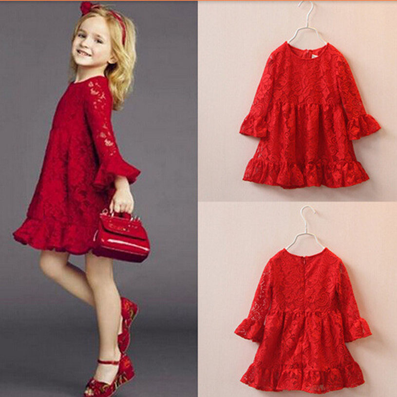 Fashion Robe Enfant Mariage Birthday Wedding Girl Spring Clothes Red Teenagers Ropa De Nina American Style