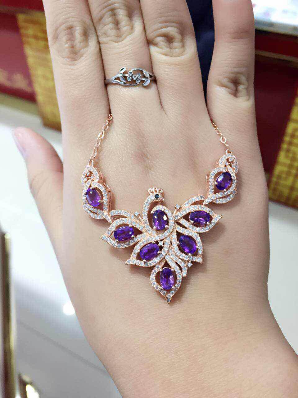 Natural amethyst Necklace natural crystal Pendant Necklace S925 silver trendy Elegant Phoenix women party fine Jewelry цена 2017