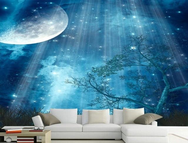 Muurschilderingen Voor Slaapkamer : D muurschilderingen slaapkamer muurschildering behang custom sky