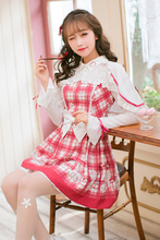 Principessa sweet lolita dress candy rain giapponese sweet floreale dress, reticolo femminile slim maniche lunghe vento C22AB7005