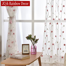 White Blue Flowers Embroidery Sheer Tulle Curtains For Living Room Window Voile Curtains Fabric Drapes Bedroom Sheer Cortinas 1 pair of sheer window tulle fabric curtains