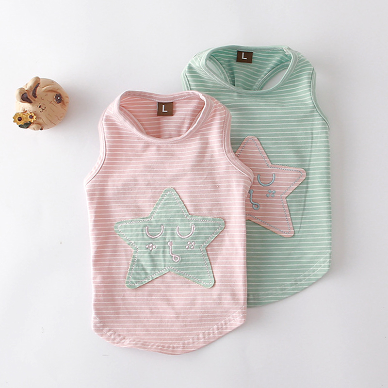 High Quanlity Pet Dog Clothes T-shirt Summer Puppy Cat Doggy Vest Pink Star Pattern 100% Cotton Shirt Chihuahua Dog Clothes