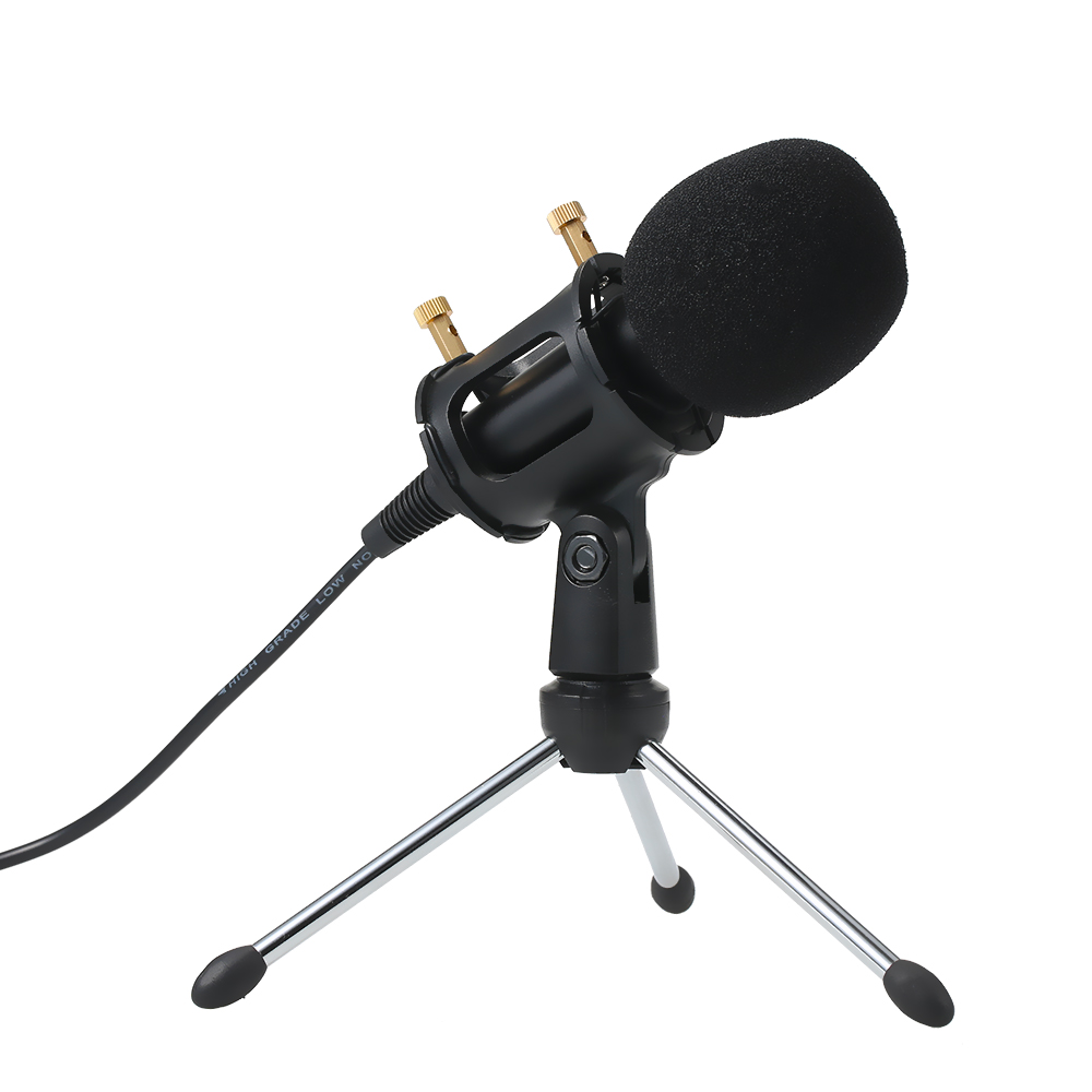 Professional Condenser Microphone 3.5mm Plug and Play Home Studio Podcast Vocal Recording Microphones Mini MIC Stand Dual-layer