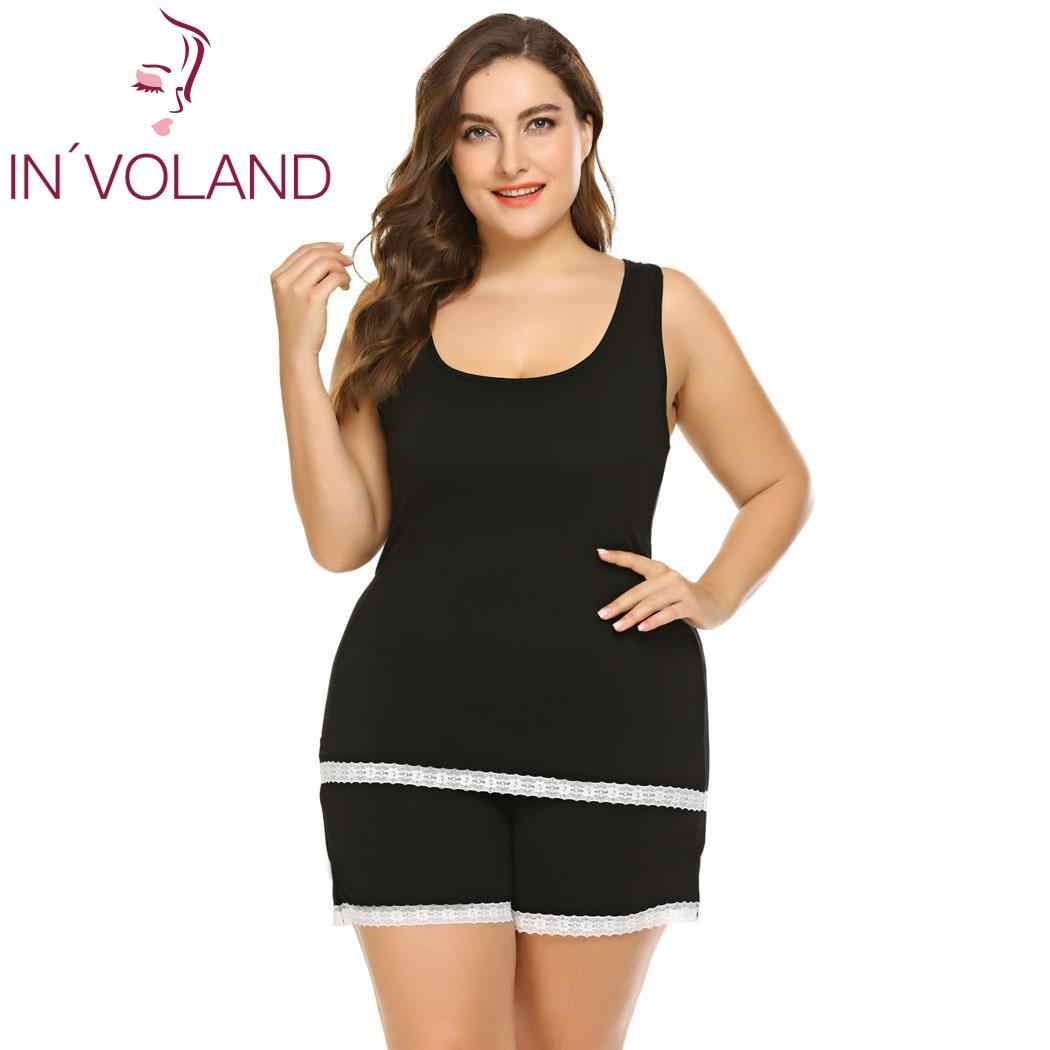 dcc53dce84 ... IN VOLAND Women Sleepwear Set Plus Size XL-5XL Summer Pajamas Set  Patchwork Large ...