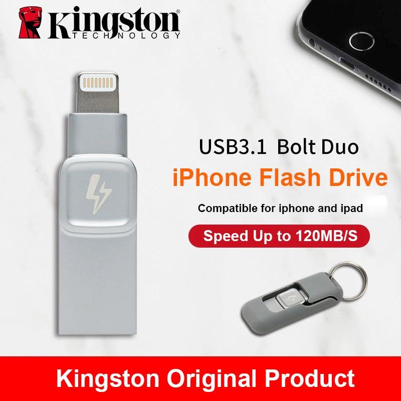 Kingston Boulon USB 3.0 Flash drive Mémoire Bâton pour Apple iPhone & iPads avec iOS 9.0 pendrive mfi certifié en métal cle usb Disque