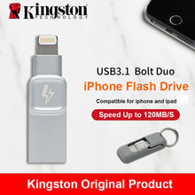 Kingston Bolt USB 3.0 Flash drive Memory Stick for Apple iPhone & iPads with iOS 9.0 pendrive mfi certified metal Cle usb Disk(China)