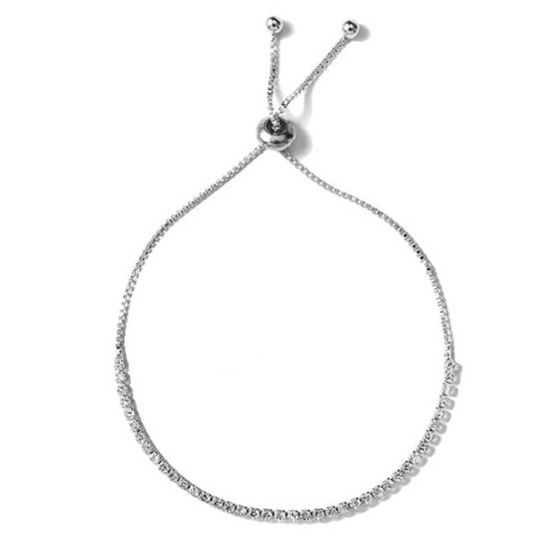 قابل للتعديل سحر أساور مع مكعب زركونيا الفضة اللون للمرأة مجوهرات هدية أساور موهير مخلب إعداد