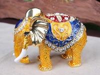 Big Elephant Crystal Studded Pewter Jewelry Trinket Box Handmade Metal Ring Holder Elephant Trinket Boxes Jewelry Wedding Gifts